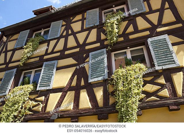 Facades in Colmar city, France