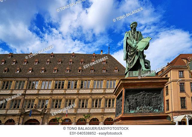 Place Gutenberg statue in Strasbourg Alsace France