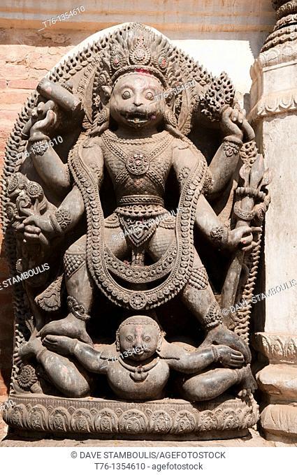 statue at a Hindu temple in the ancient city of Bhaktapur, near Kathmandu, Nepal