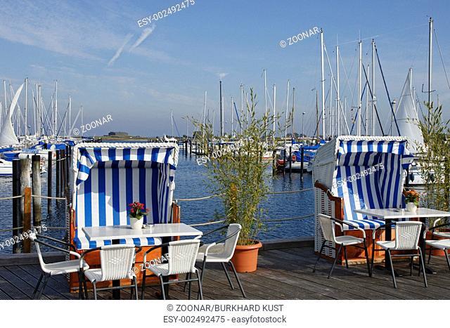Beach chairs at the marina in Heiligenhafen, Germa