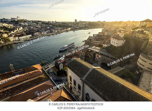 View of the old town of Oporto from