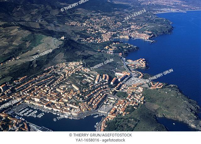 Port Vendres and back Collioure on the Vermeille coast, Eastern Pyrenees, Languedoc-Roussillon region, France