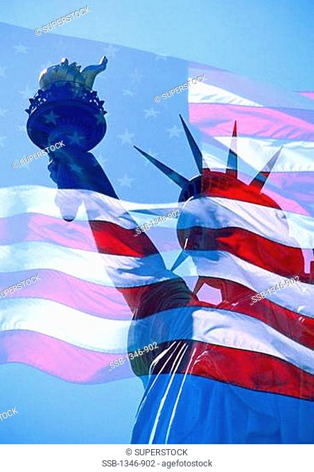 American flag composited with a statue, Statue Of Liberty, Manhattan, New York City, New York State, USA