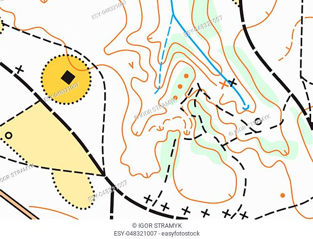 Detailed fragment of color abstract vector topographic map