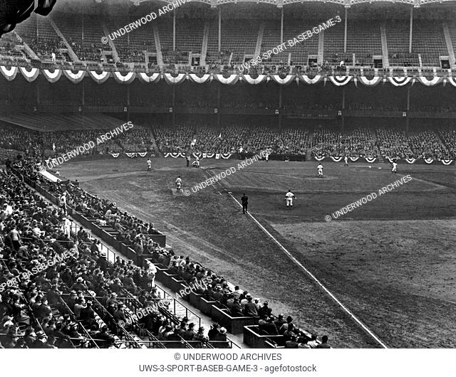 New York, New York: April, 1940.A baseball game at Yankee Stadium in New York City between the Yankees and the Washington Senators