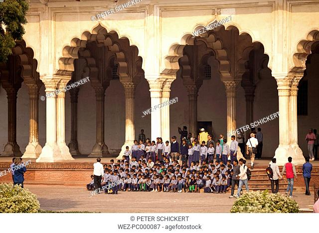 India, Uttar Pradesh, Agra, Red Fort, Group picture of a school class