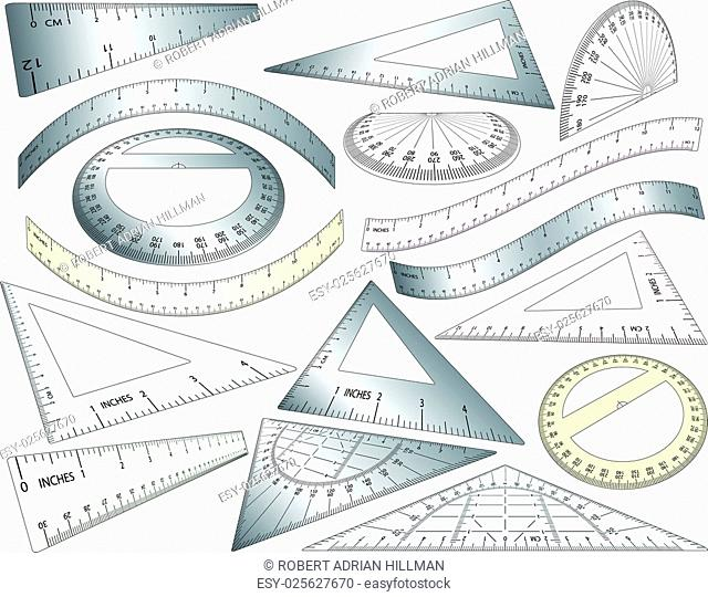Set of angled and bent editable vector rulers, set squares and protractors in plastic and metal