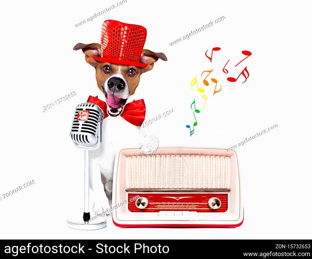 jack russell dog , singing a karaoke song or reading the news using a retro mic or microphone, behind retro radio recorder, isolated on white background