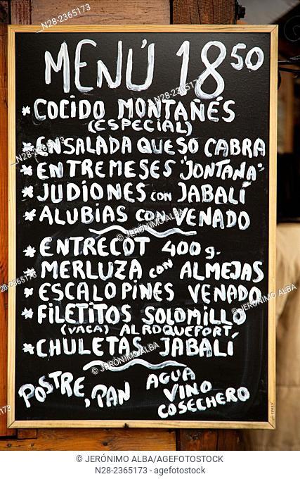 Typical restaurant menu, Barcena Mayor, Saja Nansa Natural Park, Cantabria, Spain