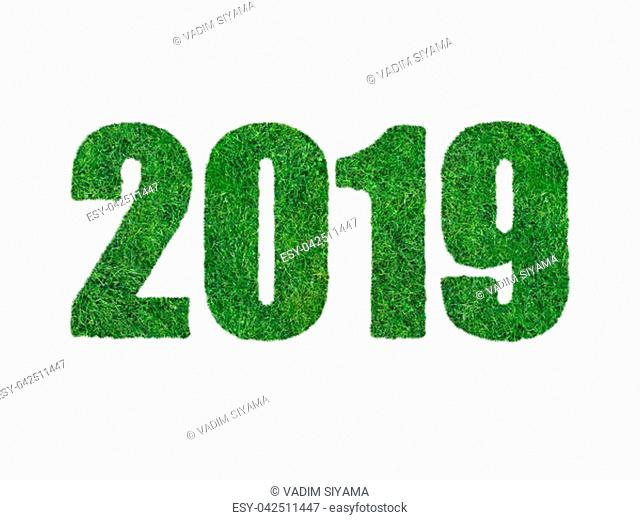Calendar date in the form of grass for 2019 on a white background