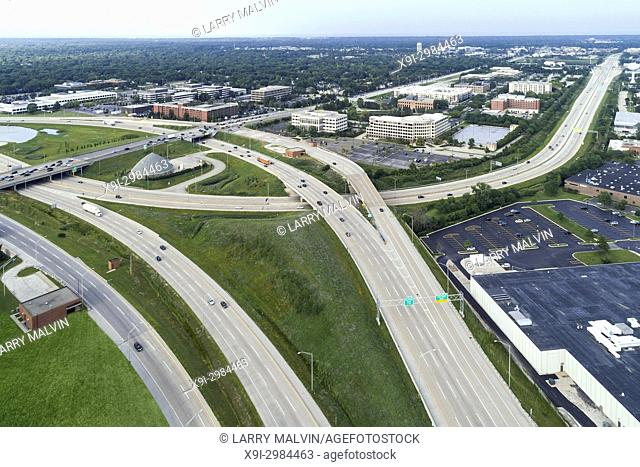 Aerial view of a highways, overpasses and ramps in a suburban Chicago suburban setting. Northbrook, IL. USA