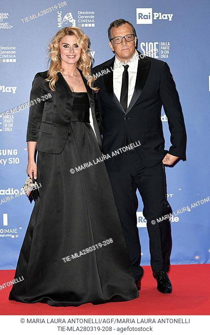 Director Gabriele Muccino with wife Angelica Russo during the David di Donatello Award red carpet, Rome, ITALY-27-03.2019
