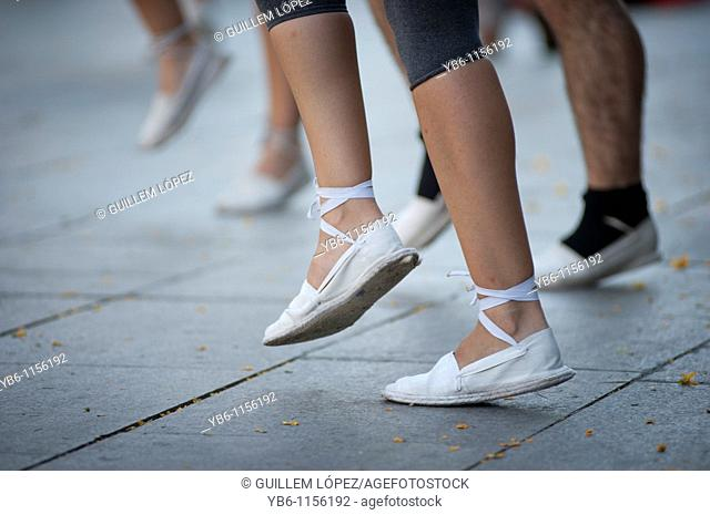 view of the feet of a 'Sardana ' dancer, the traditional dance of Catalonia