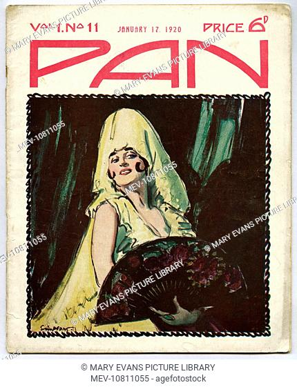 Front cover of 'Pan' magazine, featuring a Spanish flamenco dancer with a enormous yellow headdress, and holding an ornate fan