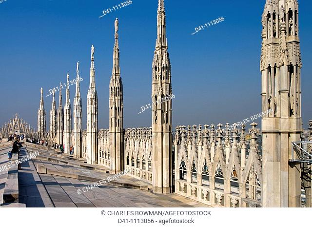 Europe, Italy, Lombardy, milan cathedral roof