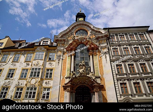 Europe, Germany, Bavaria, Munich, Old Town, Sendlinger Strasse, Asamkirche, Asamhaus, St. Johann Nepomuk, built by brothers Asam from 1733 to 1746 in rococo...