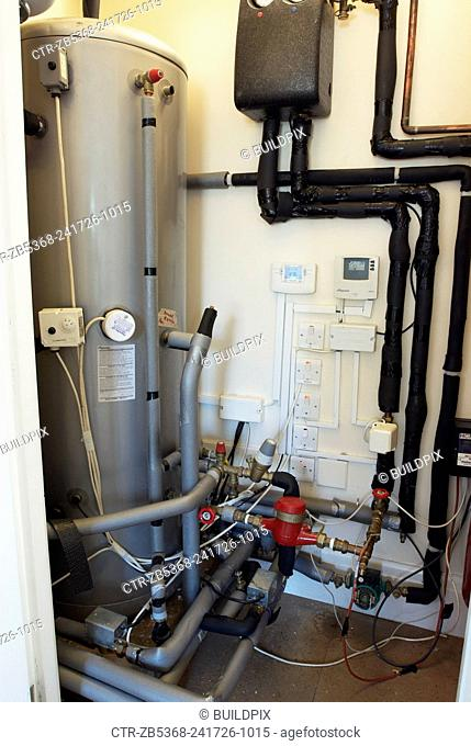 Hot water cylinder linked to solar thermal panels on roof