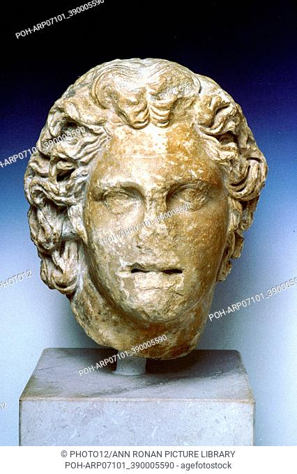 Alexander the Great (356-323 BC), Alexander III of Macedon. Ivory portrait bust from the royal tombs at Vergina. Archaeological Museum of Thessaloniki
