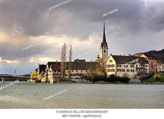 The old town of Stein am Rhein in the evening light, Canton Schaffhausen, Switzerland, Europe