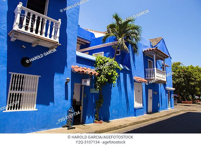 Blue Colonial house in the ancient walled city of Cartagena de Indias. UNESCO's historical patrimony of humanity. Cartagena, Colombia