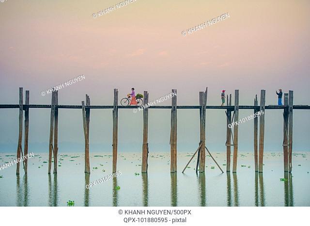 2014, Myanmar, Mandalay, U-Bein bridge. Morning scene at the U-Bein bridge