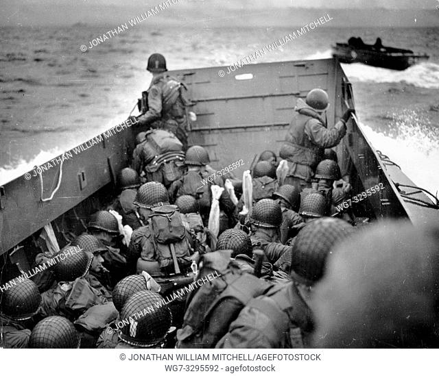 FRANCE Omaha Beach -- 06 Jun 1944 -- A US Navy landing craft approaches Omaha Beach in Normandy France with US Army and US Navy assault troops in the early...