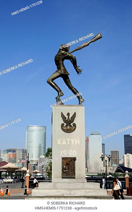 United States, New Jersey, Jersey City, Exchange Place, Katyn Memorial dedicated to the victims of the Katyn massacre in 1940