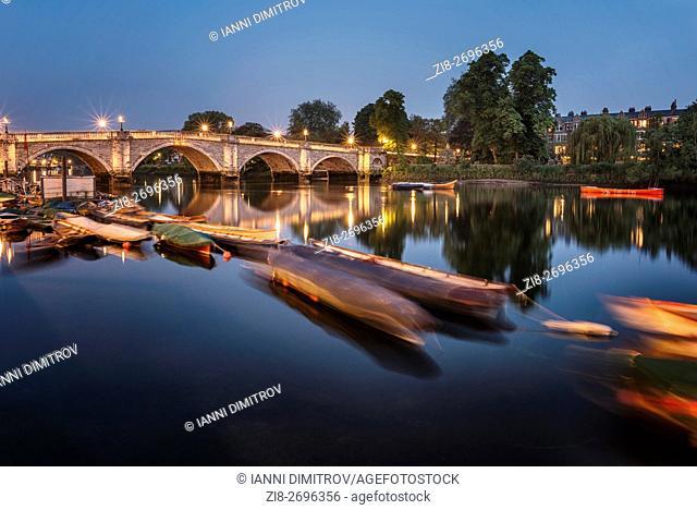 Richmond Bridge at night, Richmond Upon Thames, Surrey, England