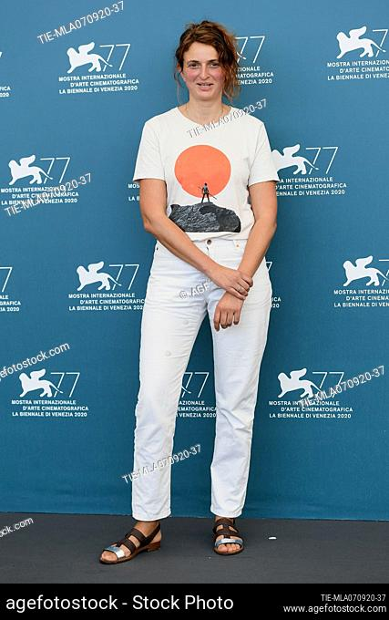 """Alice Rohrwacher attends the photocall of the movie """"""""Omelia Contadina"""""""" at the 77th Venice Film Festival on September 07, 2020 in Venice, Italy"""
