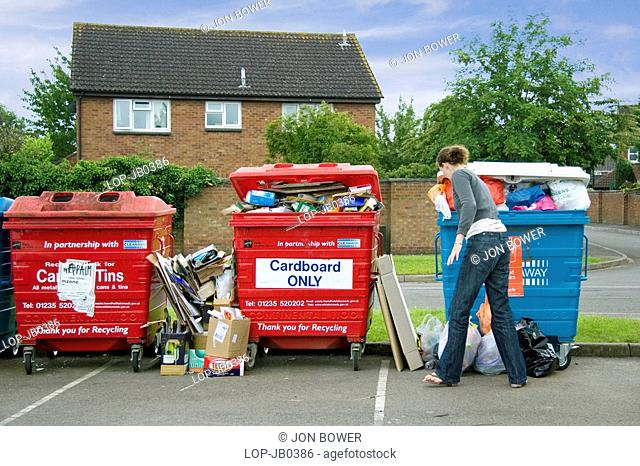 England, Oxfordshire, Abingdon, An overflowing waste recycling point on an Oxfordshire housing estate