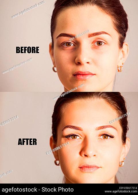 Close up female eyes with fake eyelashes. Eyelash extensions, before and after prosedure