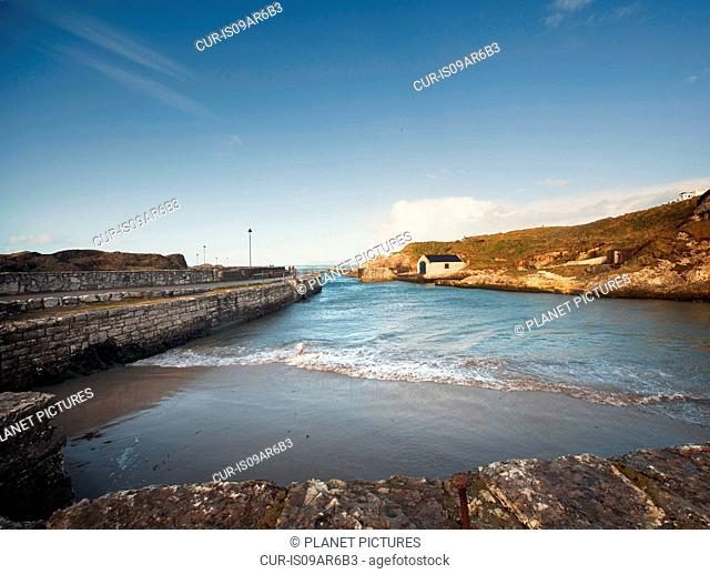 View of Ballintoy harbor, County Antrim, Northern Ireland, UK