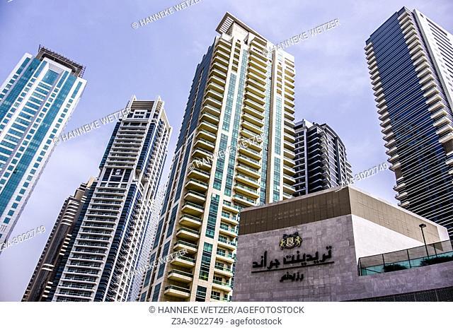 Supertall skyscrapers at the JBR walk of Dubai Marina, Dubai, UAE