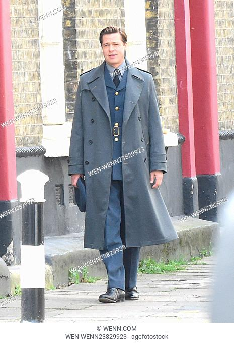 Brad Pitt pictured in full costume on the set of his new movie Allied in London. Brad was seen filming scenes for his new movie in the capital