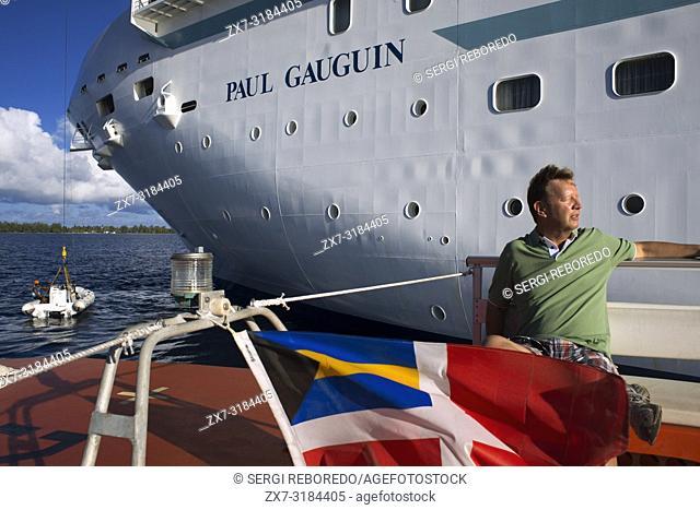Guest of Paul Gauguin cruise anchored in Fakarava, Tuamotus Archipelago French Polynesia, Tuamotu Islands, South Pacific