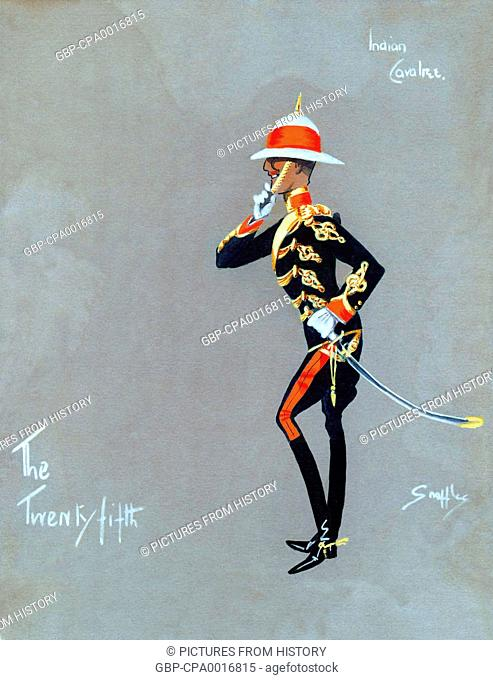 India: Indian 'Cavalree' officer of The Twenty-Fifth. Caricature style gouache painting, Snaffles, 1910