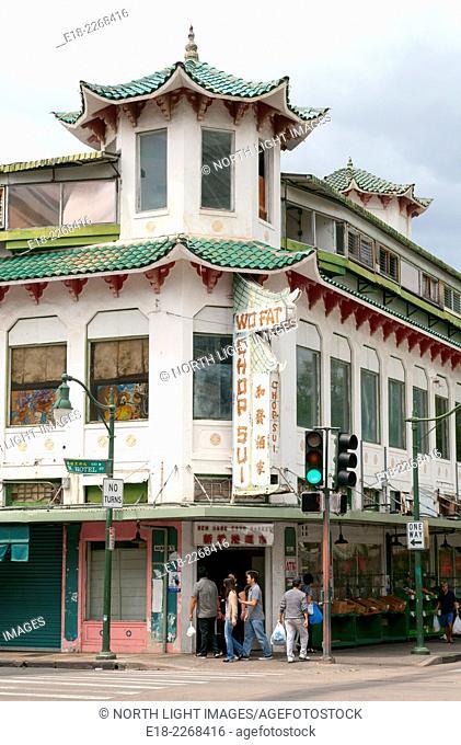 USA, Hawaii, Honolulu. Chinatown. Famous Wo Fat building. Wo Fat Restaurant closed in 2005