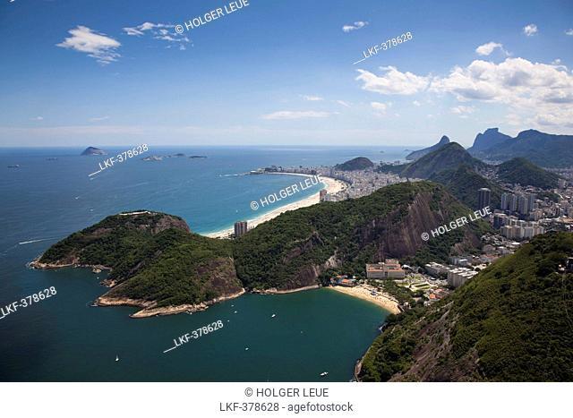 View over city from Pao de Acucar Sugar Loaf mountain with Sky Gondola, Rio de Janeiro, Rio de Janeiro, Brazil, South America