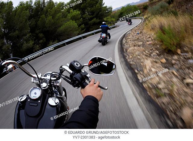 Harley-Davidson taking the curve in Harley-Davidson concentration in Malaga. Malaga, Andalucía, Spain, Europe