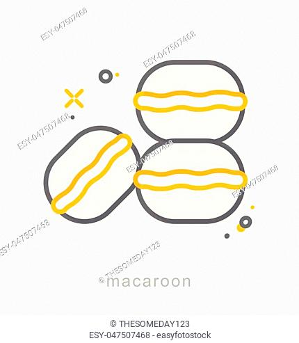 Thin line icons, Linear symbols, Macaroon