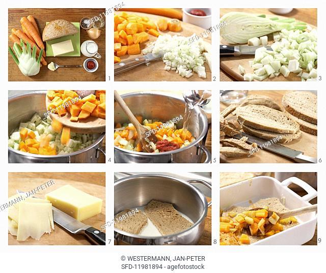 Preparing vegetable bake with bread