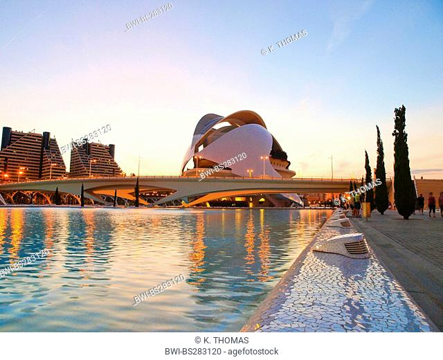 the opera at the 'Ciudad de las Artes y de las Ciencias', the 'City of Arts and Sciences' in the evening light, Spain, Valencia