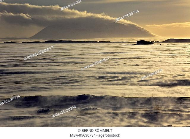 Iceland, Iceland, north-east, region of Myvatn, view over the icebound lake Myvatn