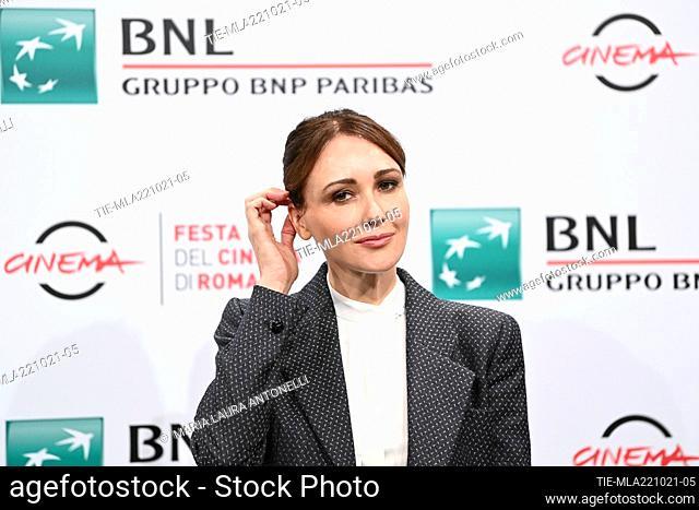 Anita Caprioli during the photocall of film 'Vita da Carlo' at the 16th Rome Film Festival, Rome, ITALY-22-10-2021