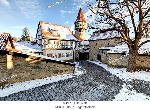 Fortress church, school bell tower, Malerwinkel, Ostheim vor der Rhön, Rhön-Grabfeld, Lower Franconia, Bavaria, Germany, Europe