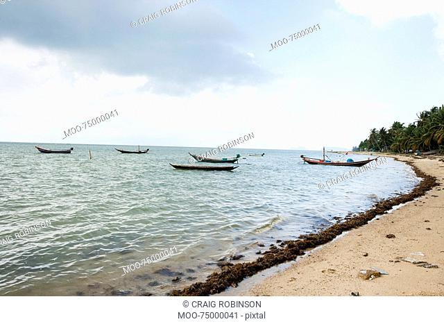 Fishing boats on shore, Koh Pha Ngan, Thailand