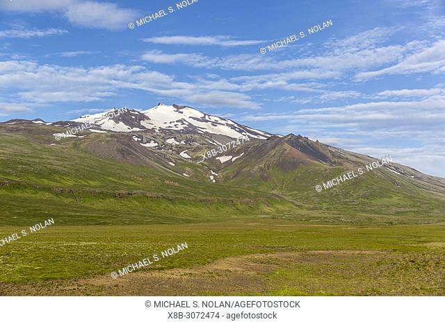 "A view of Snæfellsjökull, """"snow-fell glacier"""", Snæfellsnes National Park, Snæfellsnes Peninsula, Iceland"