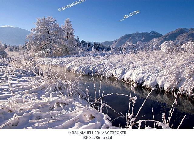 Snow covered winter landscape in the Murnauer Moos Moor near Murnau Upper Bavaria Germany