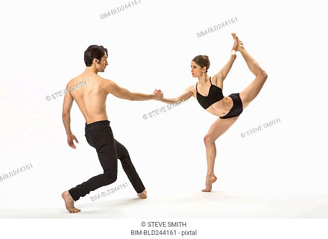 Man and woman ballet dancing