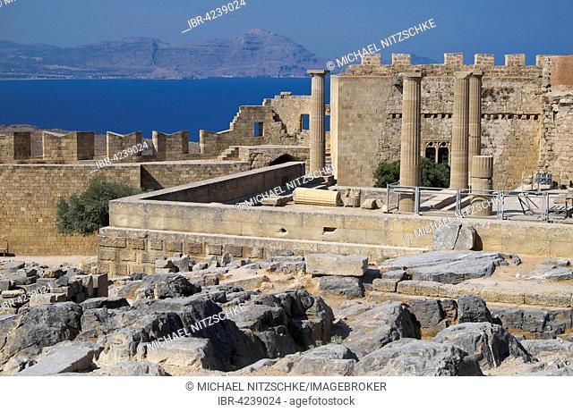 Ruins of Acropolis of Lindos, Lindos, Rhodes Iceland, Dodecanese, Greece